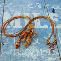 Boho Chic Wood Necklace with Wax Cord Festival wear