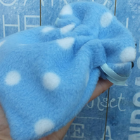 Fleece Pouch for Make Up or Essentials Blue Polka Dots