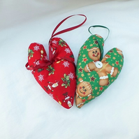 Christmas Hearts Decorations, Traditional Christmas Decor, Gingerbread Men Decor