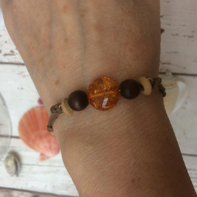 Copal  Amber Cord Bracelet with Wood Beads