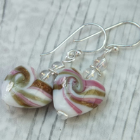Heart Drop Earrings Glass Earrings