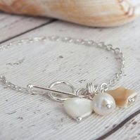 Shell Charm Bracelet with toggle clasp