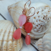 Rose Gold Plated Shell Orange Red Earrings