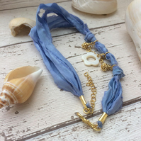 Wrap Sari Boho Bracelet blue With Gold Plated