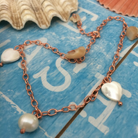 Anklet in Rose Gold Plated with Shell Beads