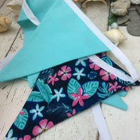 Tropical Bunting Floral and Plain Turquoise Cotton Double Sided