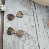 Picture Jasper Earrings Heart Silver Plated Wires
