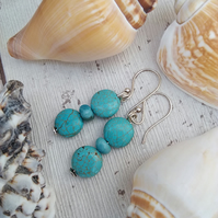 Blue Turquoise Stone Earrings