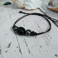 Hematite and Agate Bracelet Guys or Women's