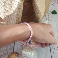 Braided Faux Suede Dark Salmon Pink Bracelet