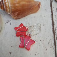 Red Star Earrings with Wire Wrapped design