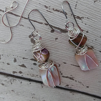 Shell Wire Wrapped Earrings