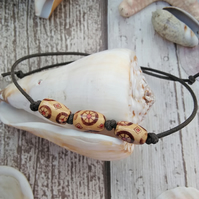 Wood Beaded bracelet with cotton cord