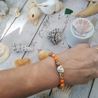 Skull Bracelet with shell and wood beads
