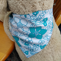 Dog Bandana Over the Collar Blue Flower Design