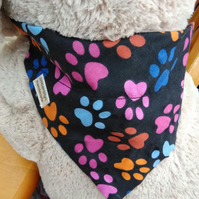 Paw Print Dog Bandana Over the Collar