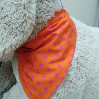 Small dog Bandana snap fastens Orange and Pink