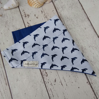 Dog Bandana Over the Collar Dolphins Large
