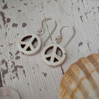 Peace Earrings Hippie Jewellery Peace Stone Earrings, Circle Earrings,