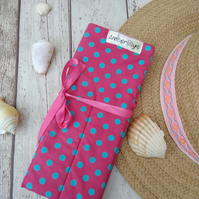 Make Up Cosmetic Roll in Polka Dot Fabric with Fleece Lining
