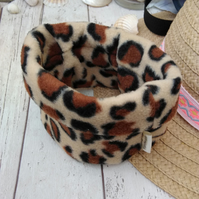 Fleece Dog Snood Small Leopard Print