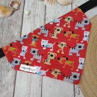 Dog Bandana over the collar Dog Design Red