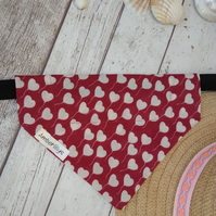 Dog Bandana over the collar hearts