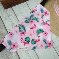 Flamingo Dog Bandana Over Collar Tropical Medium