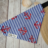 Nautical dog bandana over collar Anchors