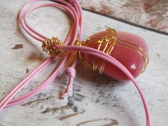 Dark Pink Glass Pendant Necklace