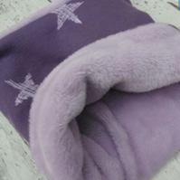 Dog snood small double sided purple stars
