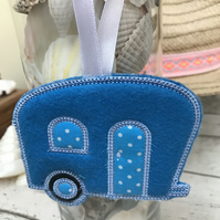 Retro Caravan Decoration Blue Polka dots