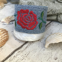 Embroidered red rose cuff bracelet