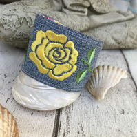 Embroidered yellow rose cuff bracelet