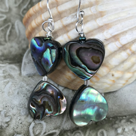Abalone Shell Drop Earrings Heart Beads