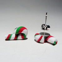 Christmas retro candy cane stud earrings Quirky, fun, unique, handmade novel