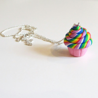 Retro Rainbow swirl cupcake necklace Quirky, fun, unique, handmade novel