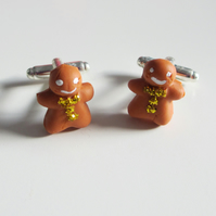 Christmas Retro Gingerbread man cufflinks - Gold (glitter detail, quirky, fun)