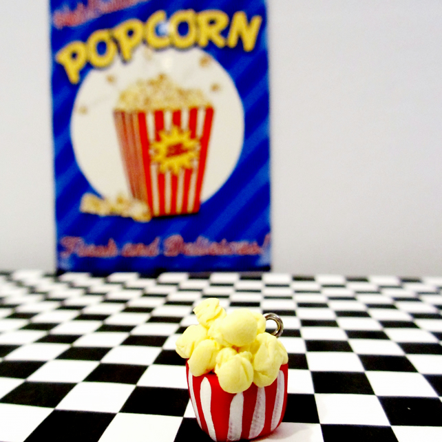 Retro cinema Popcorn box Keyring OR Necklace quirky, fun, unique, handmade,novel