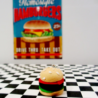 Retro Cheeseburger Keyring OR necklace quirky, fun, unique, handmade, novel
