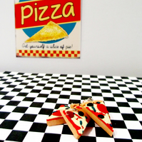 Retro pizza slice necklace OR keyring quirky, fun, unique, handmade, novel