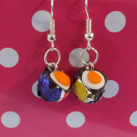 Retro Creme Egg drop earrings Quirky, fun, unique, handmade novel