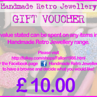 Handmade Retro Jewellery GIFT VOUCHER 10.00 GBP value