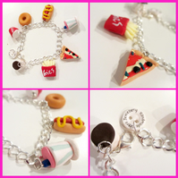 Retro Diner themed charm bracelet, quirky, fun, gift, handmade, unique, novel