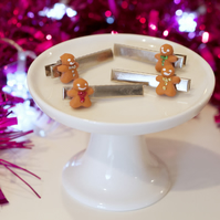 Christmas set of gingerbread man Hairclip (quirky, fun, unique, handmade, novel)