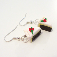Christmas cake slice drop earrings Quirky, fun, unique, handmade novel