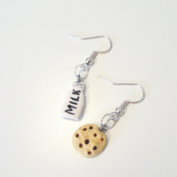 Christmas Milk and cookie drop earrings Quirky, fun, unique, handmade novel