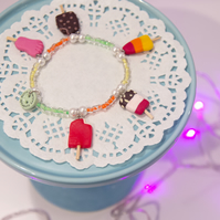 Retro TROPICAL coloured ice lollies charm bracelet Quirky, fun, unique, handmade