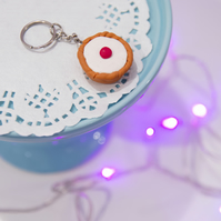 Retro Cherry Bakewell Tart Keyring Quirky, fun, unique, handmade novel
