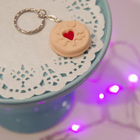 Retro Jammy Dodger Keyring OR Necklace quirky, fun, unique, handmade, classic